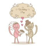 Card wedding day wedding cat Royalty Free Stock Photos