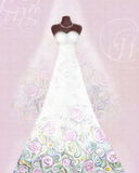 Card with wedding dress on a mannequin and veil. Floral pattern Royalty Free Stock Photos
