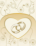Card with wedding rings. Background with heart, wedding rings Stock Photo