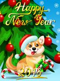 Card Welsh Corgi ang fir tree. Gift card with an inscription of Happy New year 2018, a Welsh Corgi, a fir-tree with jewelry and a Candy cane. A vector cartoon Royalty Free Stock Photo