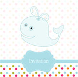 Card with whale. Card with blue whale, invitation design Stock Images