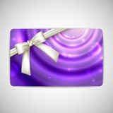 Card with a white bow and a ribbon Royalty Free Stock Image