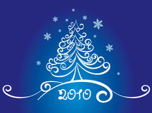 Card with white christmas tree. On blue background Stock Photo