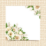 Card with white flowers on a wicker background. Vector eps-10. Vector card with white roses, lisianthus flowers and lily of the valley on a beige wicker Stock Photo