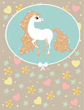 Card with white horse Royalty Free Stock Photography