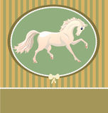 Card with white horse Royalty Free Stock Image