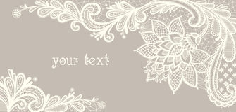 Card with a white lace. Floral Background. Stock Image