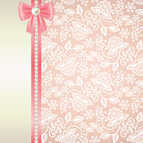 Card with white lace on pink background Royalty Free Stock Image