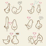 Card whits cute funny birds Stock Image