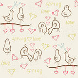 Card whits cute funny birds, seamless pattern Stock Photography