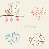 Card whits cute funny birds Stock Images