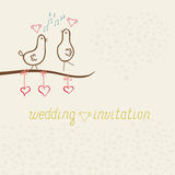 Card whits cute funny birds, wedding invitation Royalty Free Stock Photography