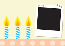 Card. Wiht candle on polka dot cake and photograph Royalty Free Stock Photo
