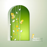 Card with window and butterflies Stock Image
