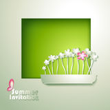 Card with window and flowerpot Stock Photography