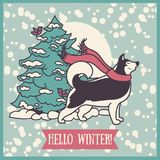 Card for winter with cute siberian husky and christmas tree. Vector illustration Royalty Free Stock Photo