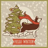 Card for winter with cute siberian husky and christmas tree. Vector illustration Stock Images
