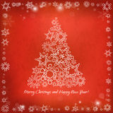 Card for the winter holidays with hand-drawn Christmas tree, sno Royalty Free Stock Photos