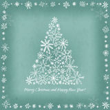 Card for the winter holidays with hand-drawn Christmas tree, sno Stock Photos