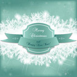 Card for the winter holidays with snowy fir branches and frame Royalty Free Stock Image