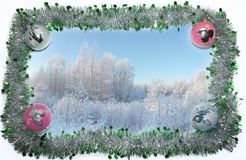 Card with winter landscape in a frame of green and silver Christmas tinsel and Christmas balls. Frame of green and silver Christmas tinsel with four colored stock photo