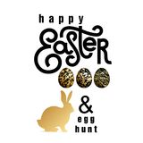 Card with wishes `Happy Easter and Egg Hunt`. Card with the inscription `Happy Easter and Egg Hunt`, realistic easter eggs and silhouette of Easter Bunny. White Royalty Free Stock Photo