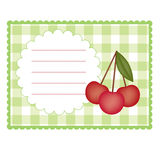 Card With Cherries Stock Photography