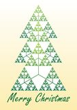Card With Christmas Tree Composed Of Fractal Element Sierpinski Triangle Stock Photos