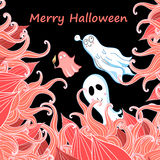 Card With Ghosts For Halloween Royalty Free Stock Photo