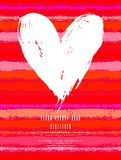 Card With Hand Drawn Heart On Striped Background Royalty Free Stock Images