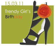 Free Card With Shoe For Trendy Girl Royalty Free Stock Images - 18546689