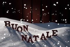 Card WithSnow, Buon Natale Means Merry Christmas, Snowflakes Stock Photo