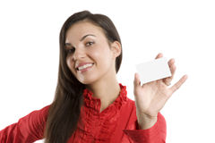 The card and woman Stock Images