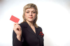 CARD WOMAN. A girl is giving a business card Stock Photo