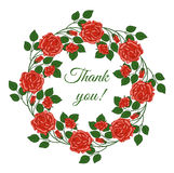 Card with words of gratitude in floral frame. vector illustration