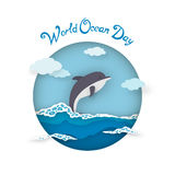 Card World Oceans Day style paper art with dolphin Stock Images