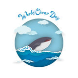 Card World Oceans Day style paper art Royalty Free Stock Image