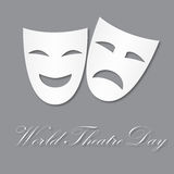 Card for World Theatre Day, March 27. Vector illustration with masks for your design, card, banner, poster and calendar. Stock Images