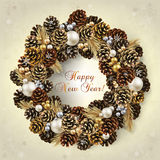 Card with wreath of fir cones and beads. Card for the winter holidays with a realistic wreath of fir cones and beads. Place for text. Christmas and New Year Royalty Free Stock Photography