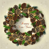 Card with wreath of fir cones, branches and beads Stock Photography
