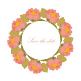 Card with wreath of flowers with place for text Royalty Free Stock Images