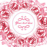 Card with wreath frame of drawn pink roses. Beautiful card for your event invitation or holiday congratulations with round wreath of hand drawned pink roses royalty free illustration