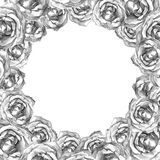 Card with wreath frame of drawn silver roses Royalty Free Stock Photo