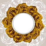 Card with wreath frame of drawn yellow roses. Beautiful card for your event invitation or holiday congratulations with round wreath of hand drawned yellow roses stock illustration