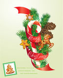 Card with xmas gingerbread, candy and fir-tree branches. Hand written text Merry Christmas. Elements for Christmas and New Year holidays design Stock Photo