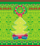 Card with Xmas tree and reindeers Stock Images