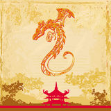 Card of year of the dragon Stock Images
