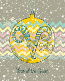 Card Year of the Goat.2015. Beautiful Card Year of the Goat. Christmas toy Stock Photo