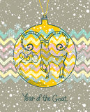 Card Year of the Goat. 2015. Christmas toy Stock Photos