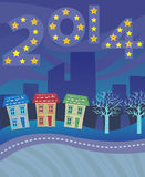2014 Card. The year 2014 with yellow stars over a city. Eps10 Royalty Free Stock Images